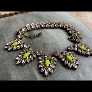 🔥 JCrew Neon Yellow Crystals Sparkling Necklace